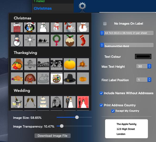 Label Sheet Setting Screen