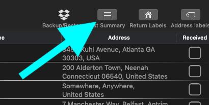 List summary button