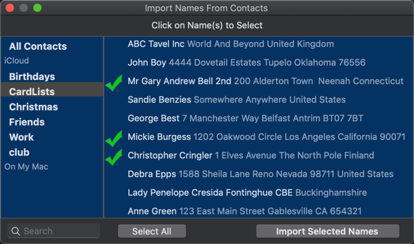 Importing Names From Contacts Screenshot